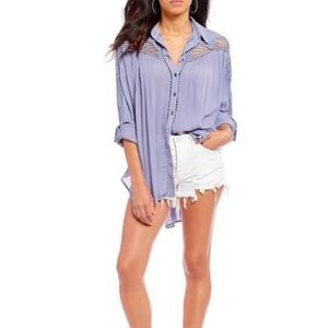 Free People // Crotchet Button-Down // XS // Blue